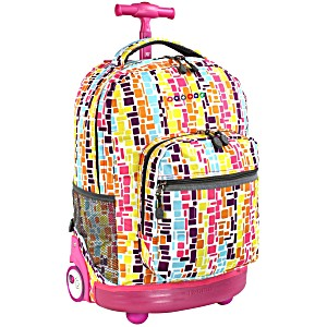 Универсальный школьный рюкзак на колесах JWORLD Sunrise арт. RBS18 Неоновые Шашки
